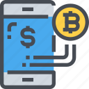 banking, bitcoin, cryptocurrency, digital, economy, smartphone icon
