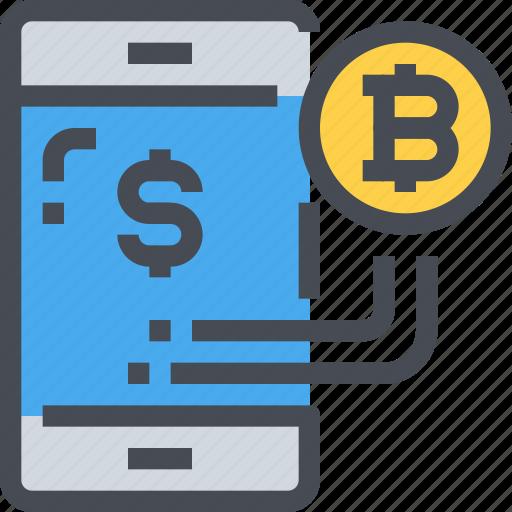 banking, bitcoin, cryptocurrency, digital, economy, smartphone icon