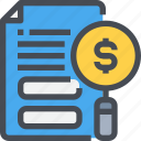 business, document, financial, magnifying, report, search icon