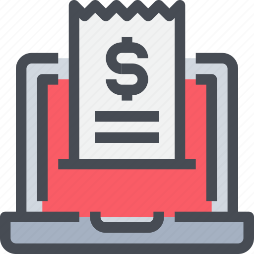 bill, computer, invoice, payment, shop, shopping icon