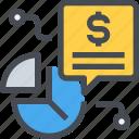 data, economy, finance, message, report icon
