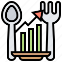 consumption, expenditure, fork, resource, spoon icon