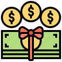 cash, gift, incentive, payment, prize icon