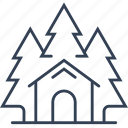 ecotourism, fir, forest, house, tree icon