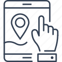 ecotourism, hand, ipad, map icon