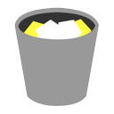 bin, full, grey, paper, recycle, rubbish, trash, waste, yellow icon