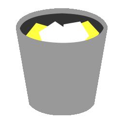 bin, full, grey, paper, recycle, rubbish, trash, waste, yellow icon