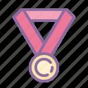 achievement, award, medal, reward, star icon