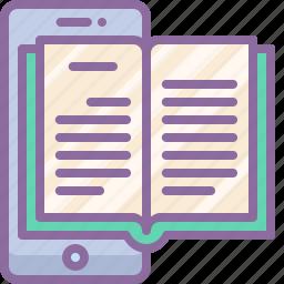 application, book, mobile, reader icon