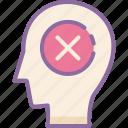 cancel, head, human, mind, thinking icon