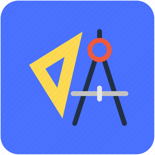compass, divider, drafting tool, geometry tool, set square icon
