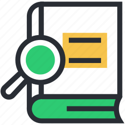 book, encyclopedia, knowledge, magnifier, searching book icon