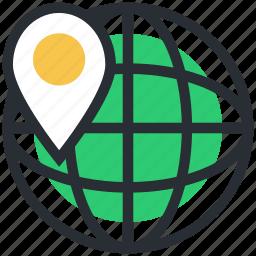 globe, localization, map location, map pin, world location icon