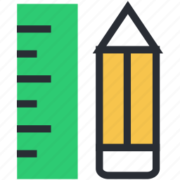 geometrical tools, measuring tools, pencil, ruler, scale icon