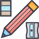 eraser, pencil, school supplies, sharpener, stationery icon