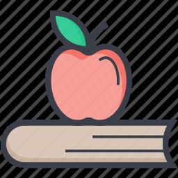apple, book, eating, lunch break, schooling icon