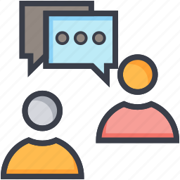 communication, discussing, speech bubble, talking, user icon