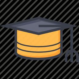 awarded cap, commencement, degree cap, graduate cap, mortarboard, tassel cap icon