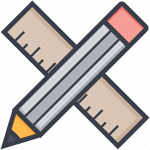 drafting, geometry, maths, ruler and pencil, sketching icon