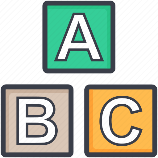abc cubes, childhood, educational blocks, play blocks, preplay group icon