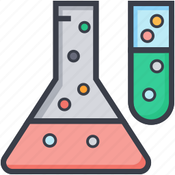 flask, lab glassware, lab research, laboratory test, test tube icon