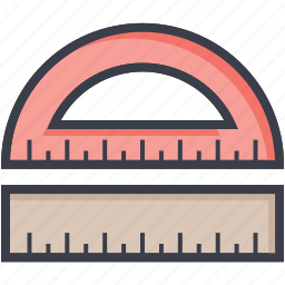 degree tool, geometrical tool, measuring tool, protractor, ruler icon