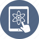 atom, chemistry, education, tablet icon