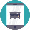 e-learning concept, education app, mobile and mortarboard, online education, online school icon