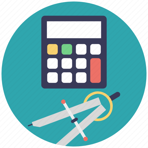 calculator with compass, engineering, geometrical symbol, geometry, office tools icon