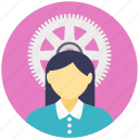 engineer, female engineer, female engineer avatar, female with gear, mechanical engineer icon