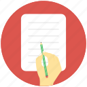 article, authorship, composition, hand writing, writing icon
