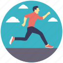 fast runner, hurrying, jogging, runner, running, running man icon
