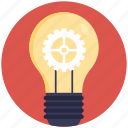 creative idea concept, creative light bulb, electric power, light bulb gear, light bulb idea icon