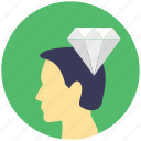 brilliant idea, brilliant mind, human head with diamond, intelligent, perfect idea generation icon