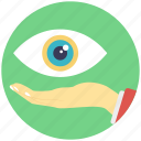 eye care, eye on hand, eye specialist, monitoring concept, vision symbol icon
