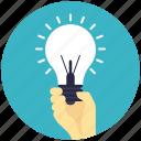 hand holding bulb, idea, idea innovation, reach idea, success concept icon