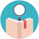 book search, book with magnifier, dictionary, encyclopedia, literature icon