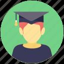 avatar, graduate, graduation, postgraduate, student icon