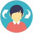 head arrows, inducement, motivation concept, profile with arrow, sync profile icon