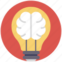 brain power, bulb with brain, creative brain, creative concept, creative idea icon