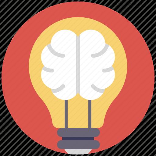 brain power, bulb with brain, creative brain, creative concept, creative idea icon