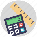 calculator with ruler, geometry, maths, office supplies, school supplies icon