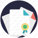 award certificate, certificate, deed, degree, diploma icon