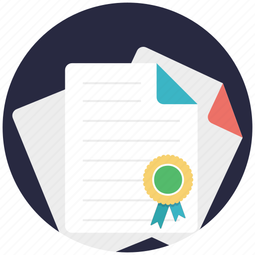 award certificate, certificate, deed, degree, diploma icon