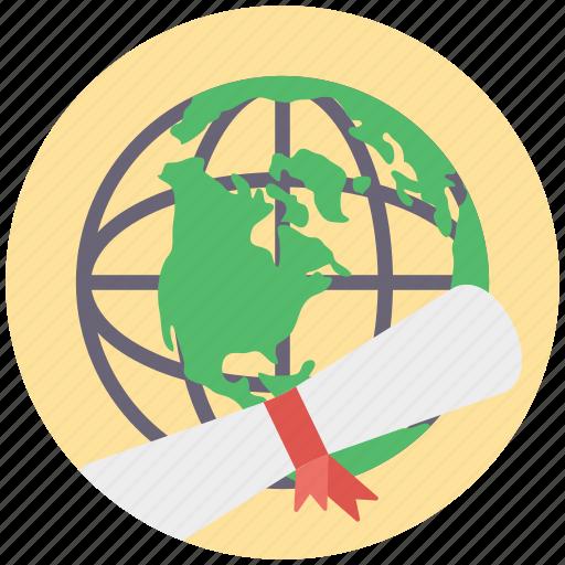 global degree, global education, international degree, international education concept, online degree icon