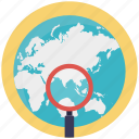 analyzing earth, global search, globe under magnifying, globe with magnifier, search engine optimization