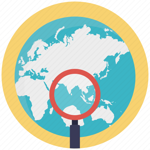 analyzing earth, global search, globe under magnifying, globe with magnifier, search engine optimization icon
