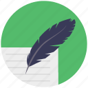 biography, calligraphy, document and feather, feather writing, history, retro writing icon