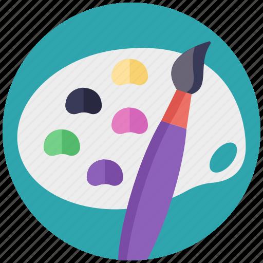 art, canvas, paint brush, paint palette, painting icon