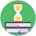 back to school, book with timer, study time, time table, time to school icon